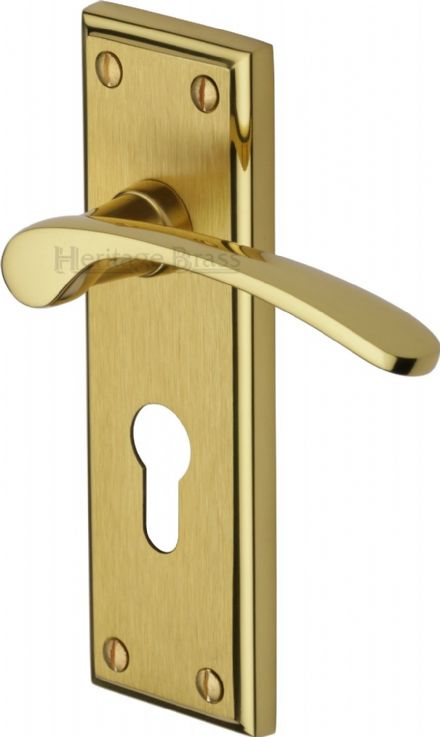 M Marcus Heritage Brass HIL8648MF Hilton Door Handle on Euro Profile Backplate Mayfair Finish